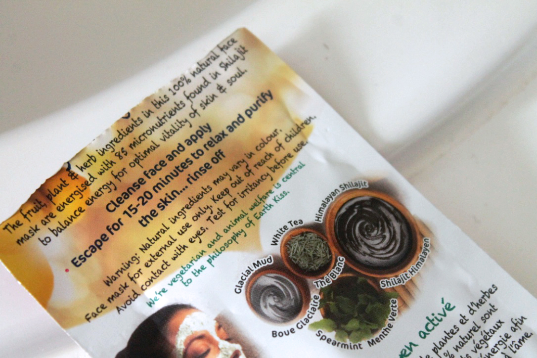 Earth Kiss Face Masque Ingredients